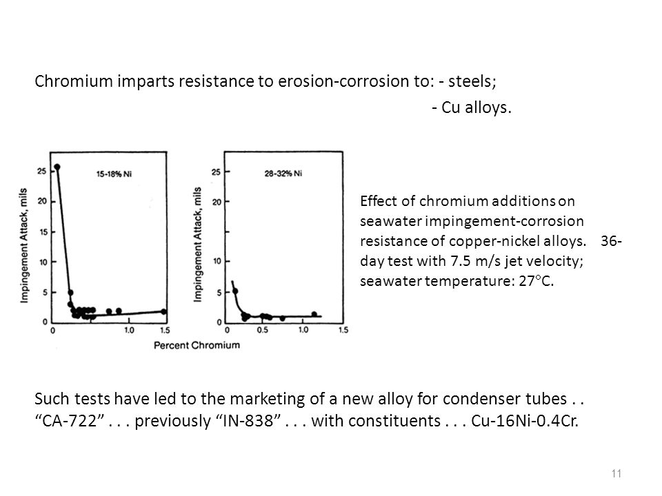 Chromium imparts resistance to erosion-corrosion to: - steels;