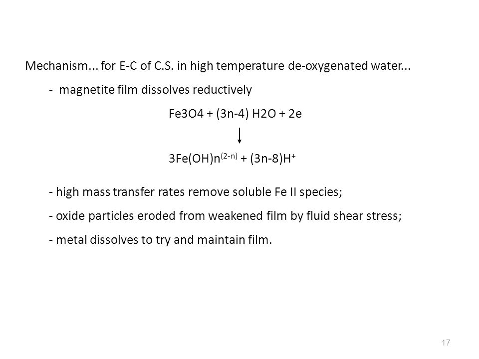 Mechanism... for E-C of C.S. in high temperature de-oxygenated water...