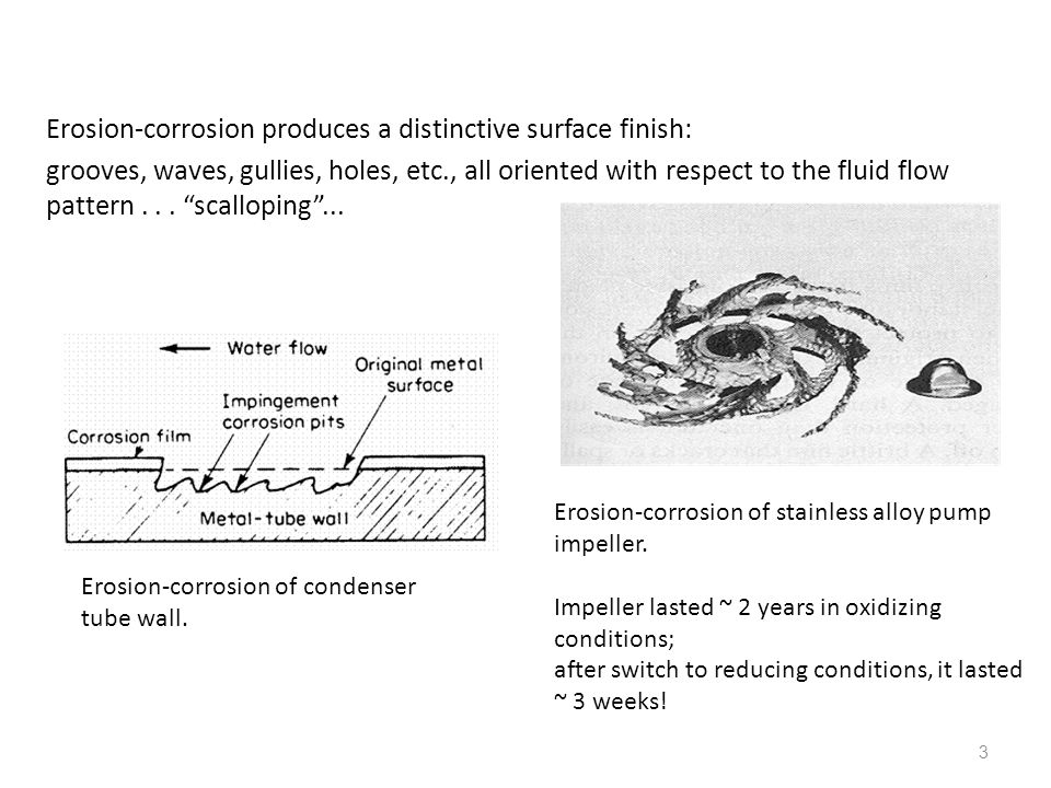 Erosion-corrosion produces a distinctive surface finish: