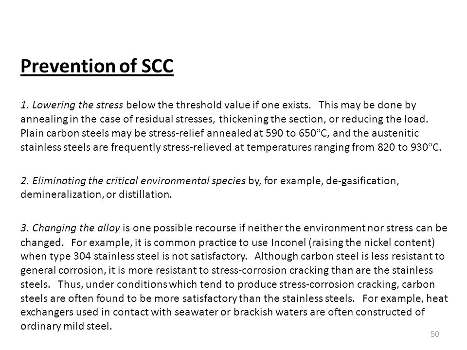 Prevention of SCC
