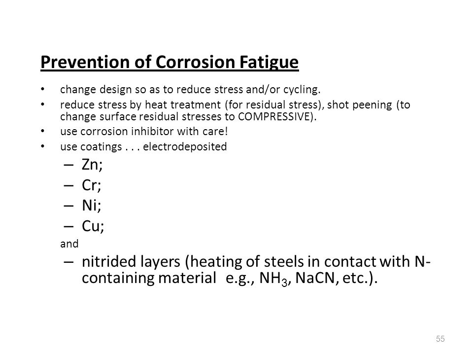 Prevention of Corrosion Fatigue