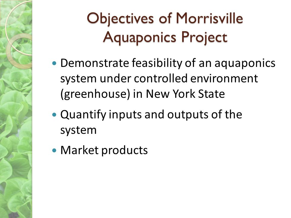 Objectives of Morrisville Aquaponics Project
