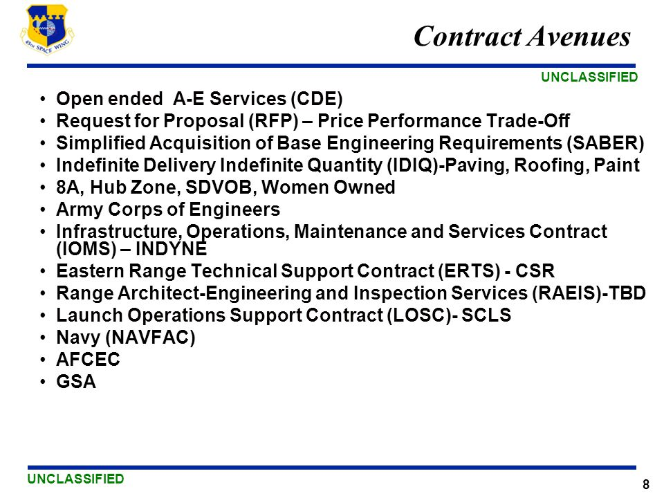 Contract Avenues Open ended A-E Services (CDE)
