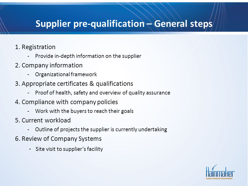 Supplier pre-qualification – General steps