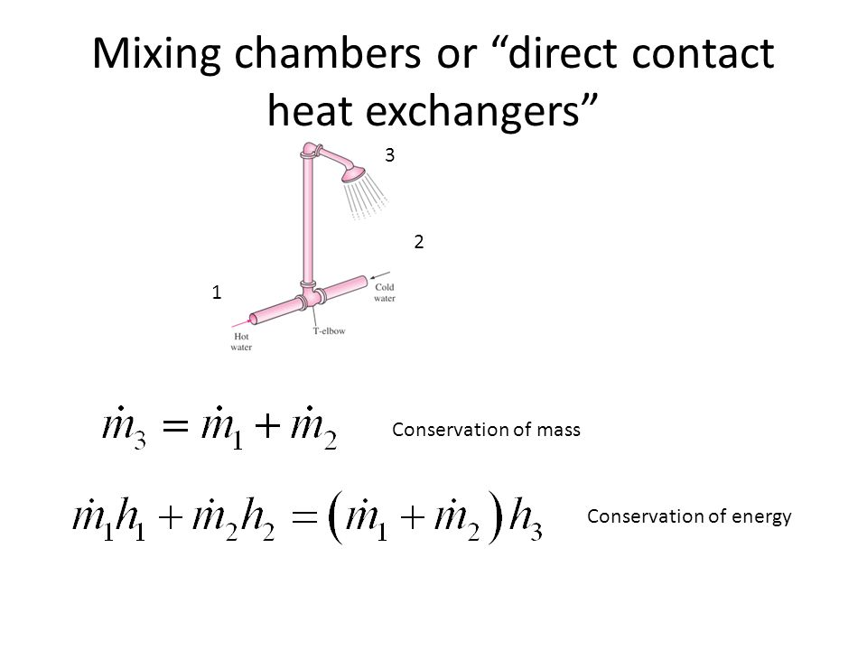 Mixing chambers or direct contact heat exchangers