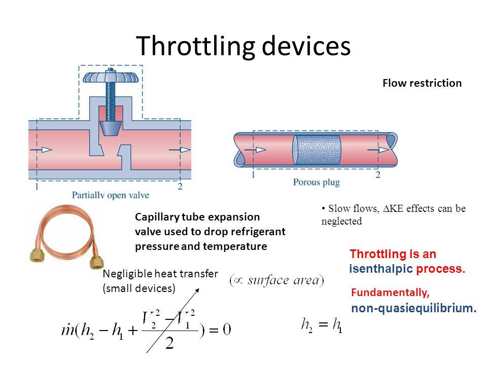 Throttling devices non-quasiequilibrium. Flow restriction