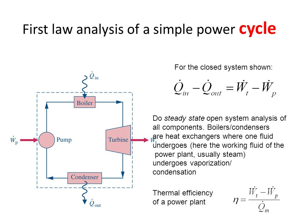 First law analysis of a simple power cycle