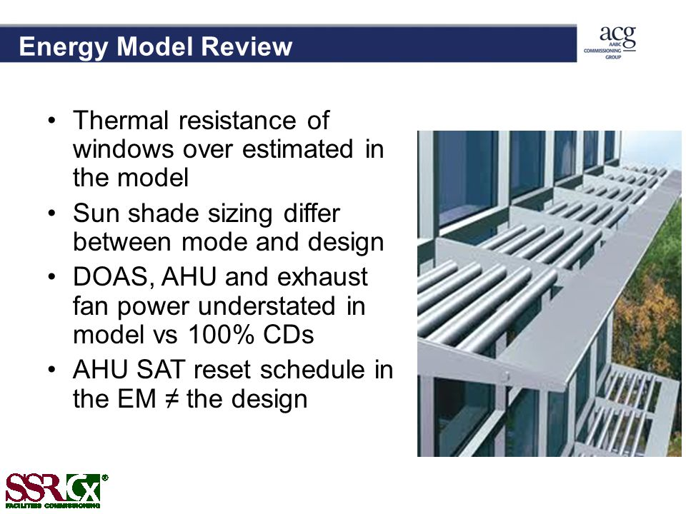 Energy Model Review Thermal resistance of windows over estimated in the model. Sun shade sizing differ between mode and design.
