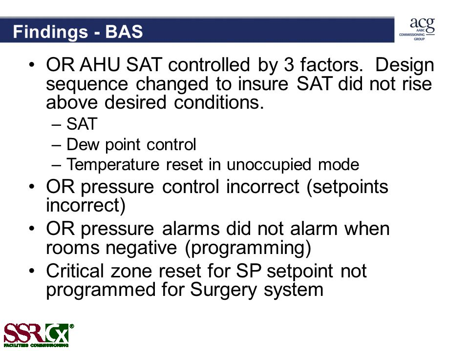 OR pressure control incorrect (setpoints incorrect)
