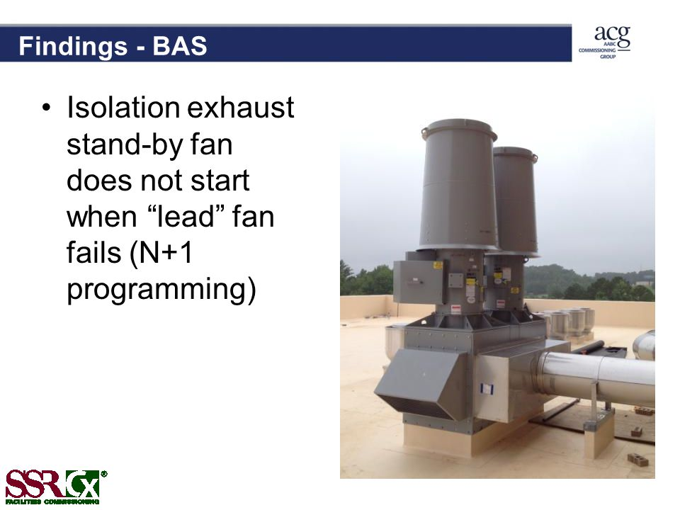 Findings - BAS Isolation exhaust stand-by fan does not start when lead fan fails (N+1 programming)