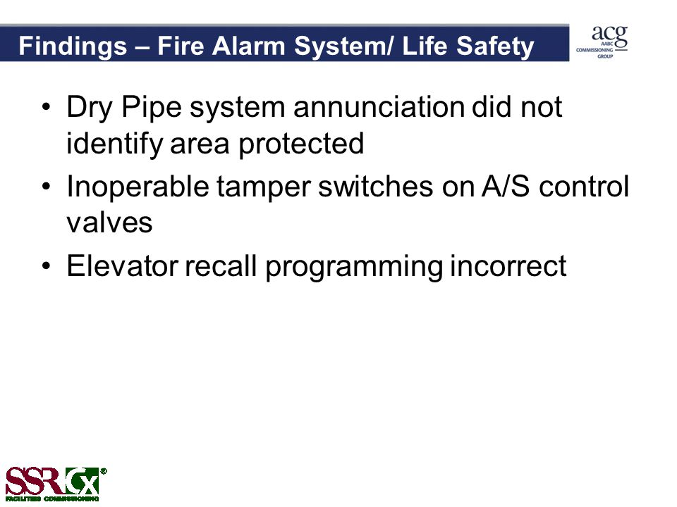 Findings – Fire Alarm System/ Life Safety