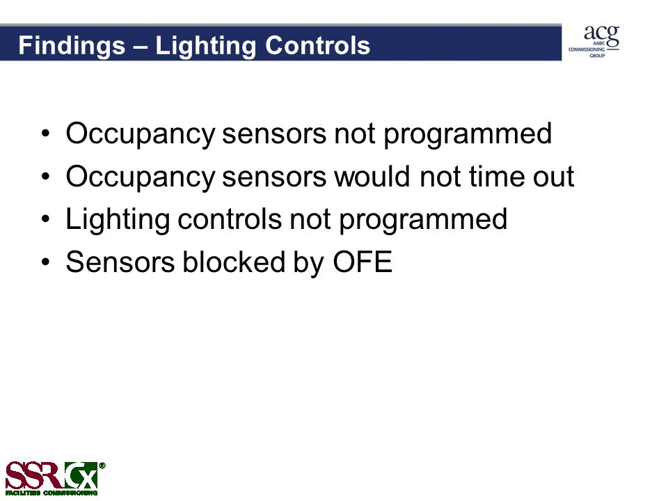 Findings – Lighting Controls