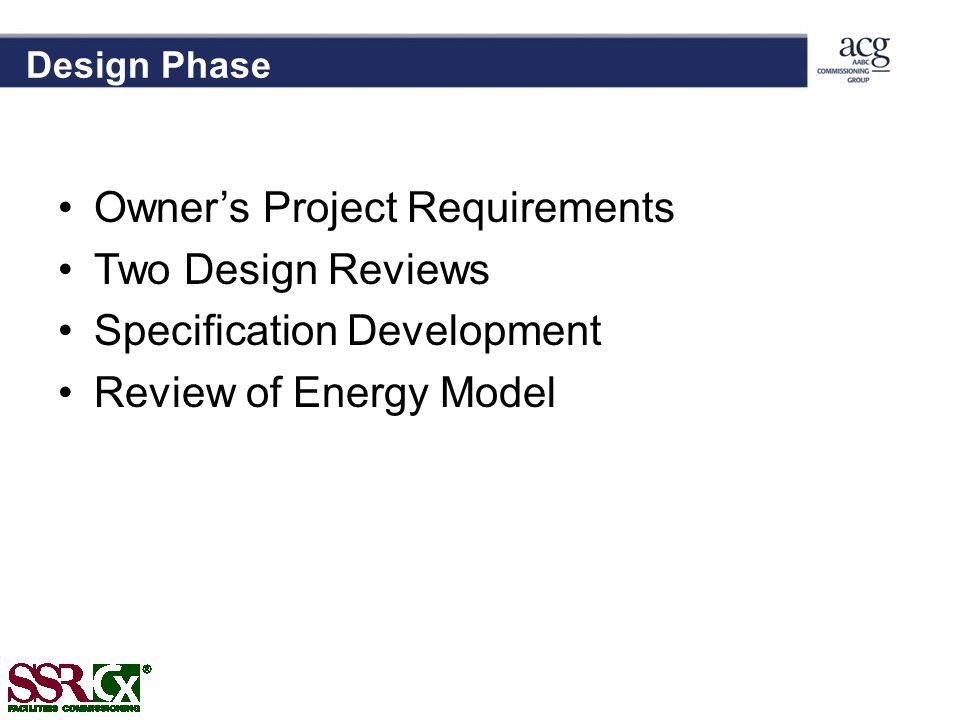 Owner's Project Requirements Two Design Reviews