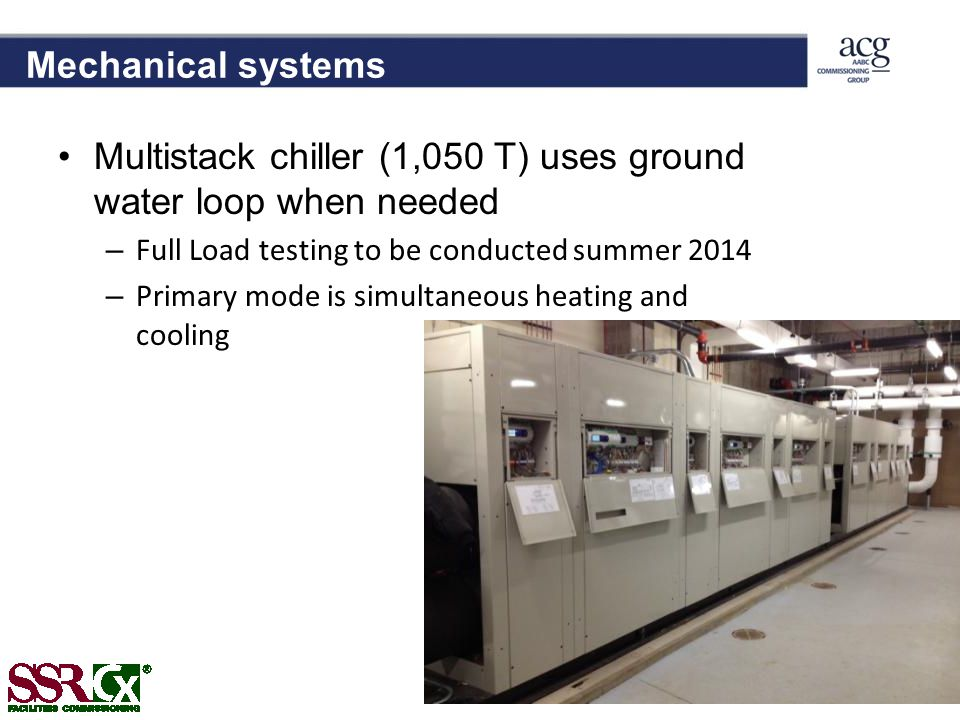 Multistack chiller (1,050 T) uses ground water loop when needed