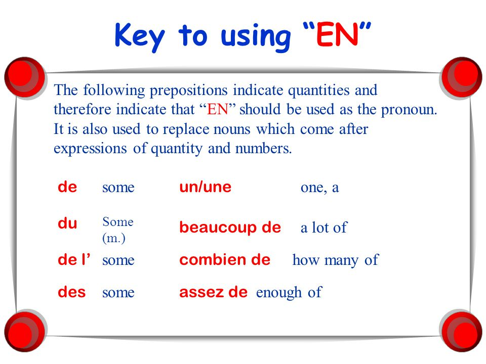 Key to using EN