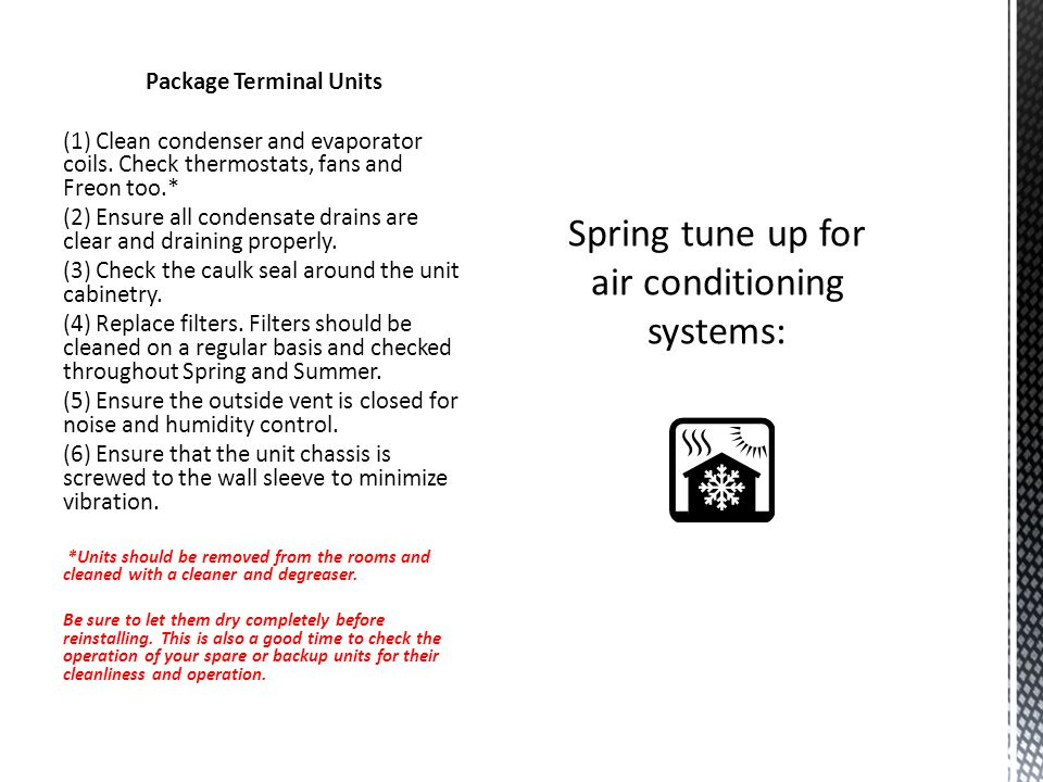 Spring tune up for air conditioning systems: