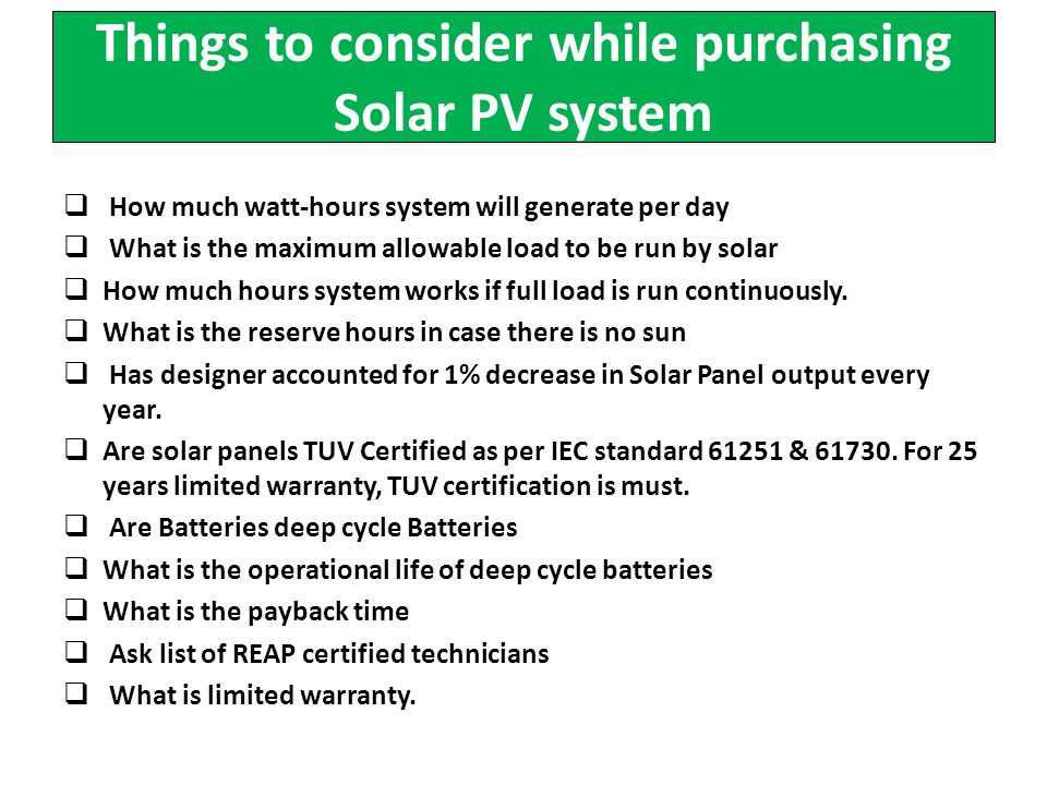 Things to consider while purchasing Solar PV system