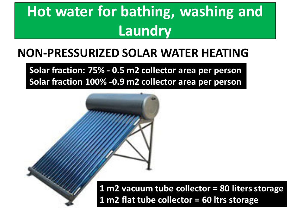 Hot water for bathing, washing and Laundry