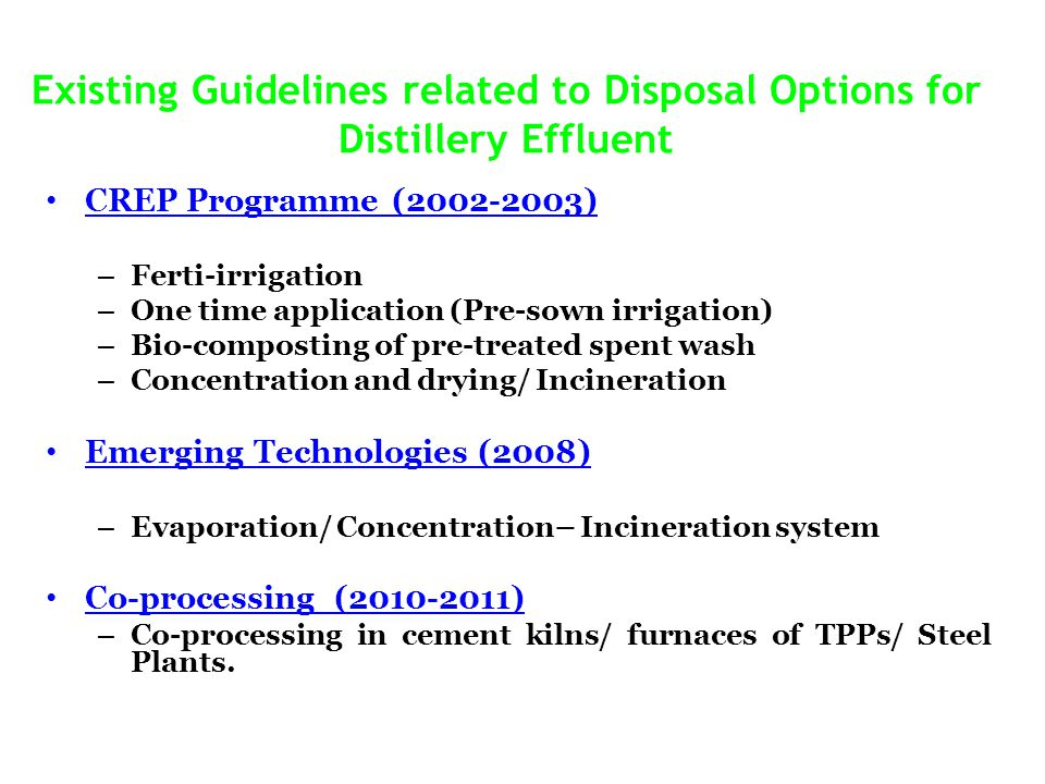 Existing Guidelines related to Disposal Options for Distillery Effluent