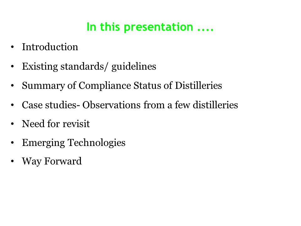In this presentation .... Introduction Existing standards/ guidelines