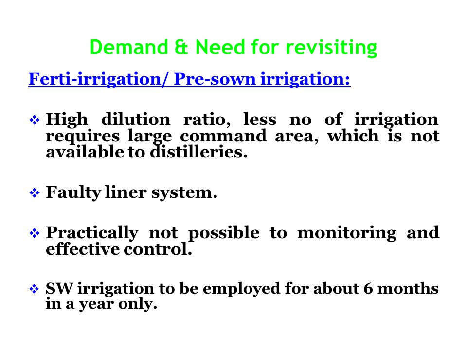 Demand & Need for revisiting