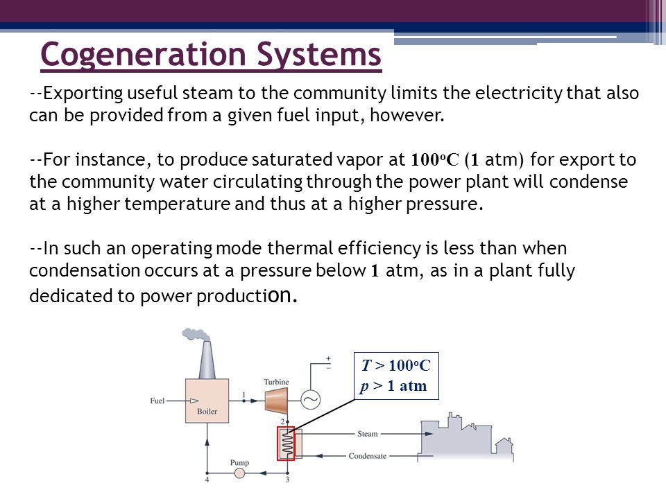 Cogeneration Systems --Exporting useful steam to the community limits the electricity that also can be provided from a given fuel input, however.