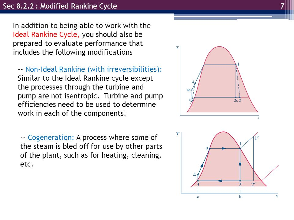Sec 8.2.2 : Modified Rankine Cycle