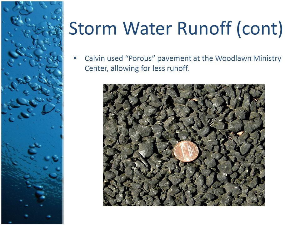 Storm Water Runoff (cont)