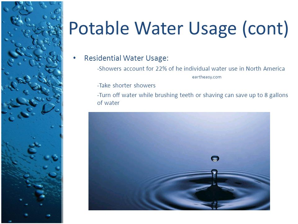 Potable Water Usage (cont)