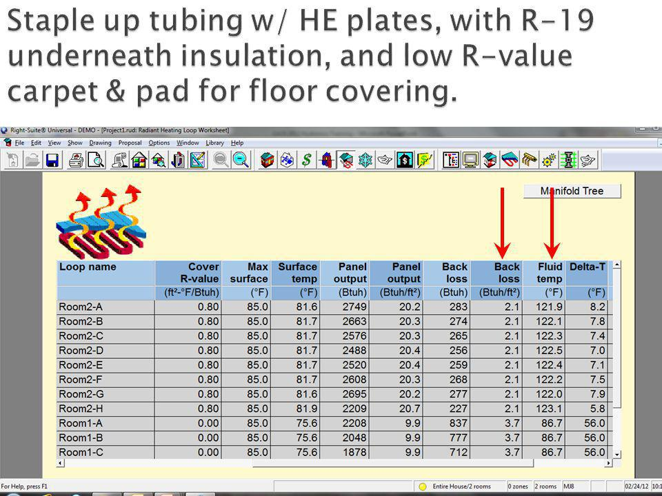 Staple up tubing w/ HE plates, with R-19 underneath insulation, and low R-value carpet & pad for floor covering.