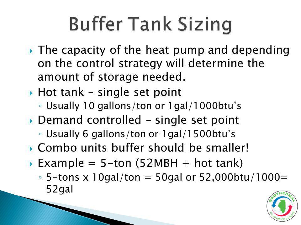 Buffer Tank Sizing The capacity of the heat pump and depending on the control strategy will determine the amount of storage needed.