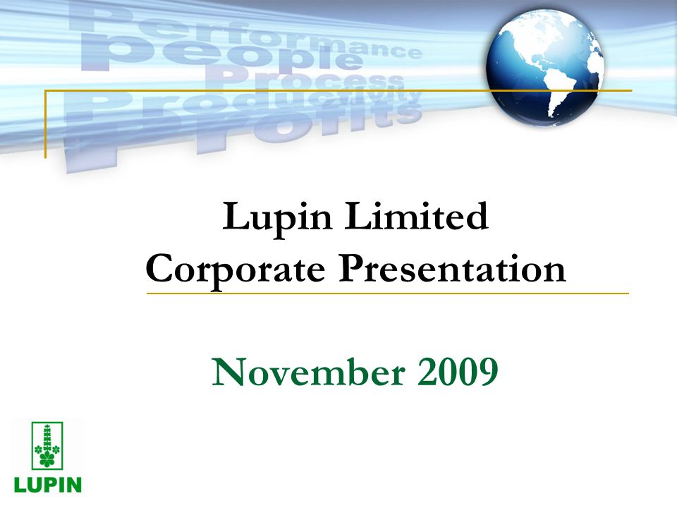 Lupin Limited Corporate Presentation November 2009
