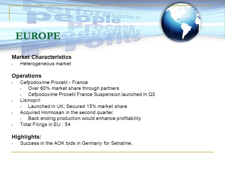 EUROPE Market Characteristics Operations Highlights: