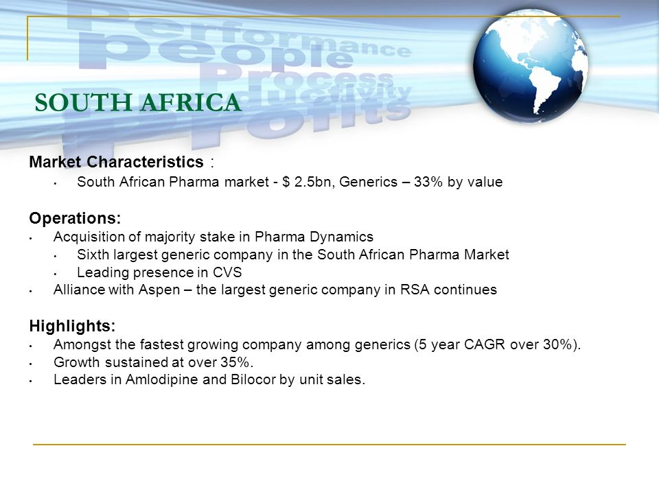 SOUTH AFRICA Market Characteristics : Operations: Highlights: