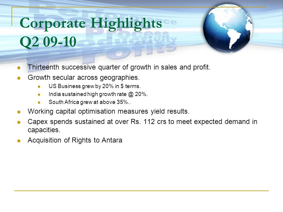 Corporate Highlights Q2 09-10