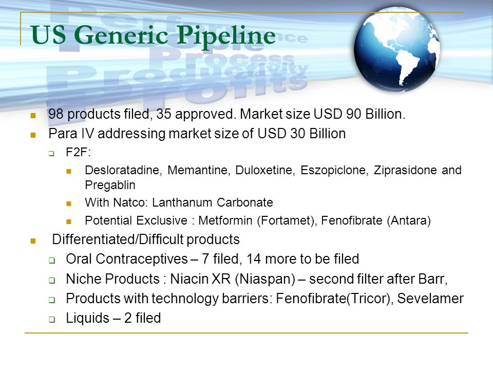 US Generic Pipeline98 products filed, 35 approved. Market size USD 90 Billion. Para IV addressing market size of USD 30 Billion.