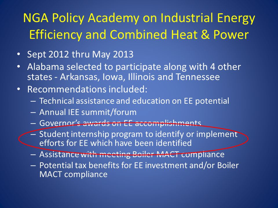 NGA Policy Academy on Industrial Energy Efficiency and Combined Heat & Power