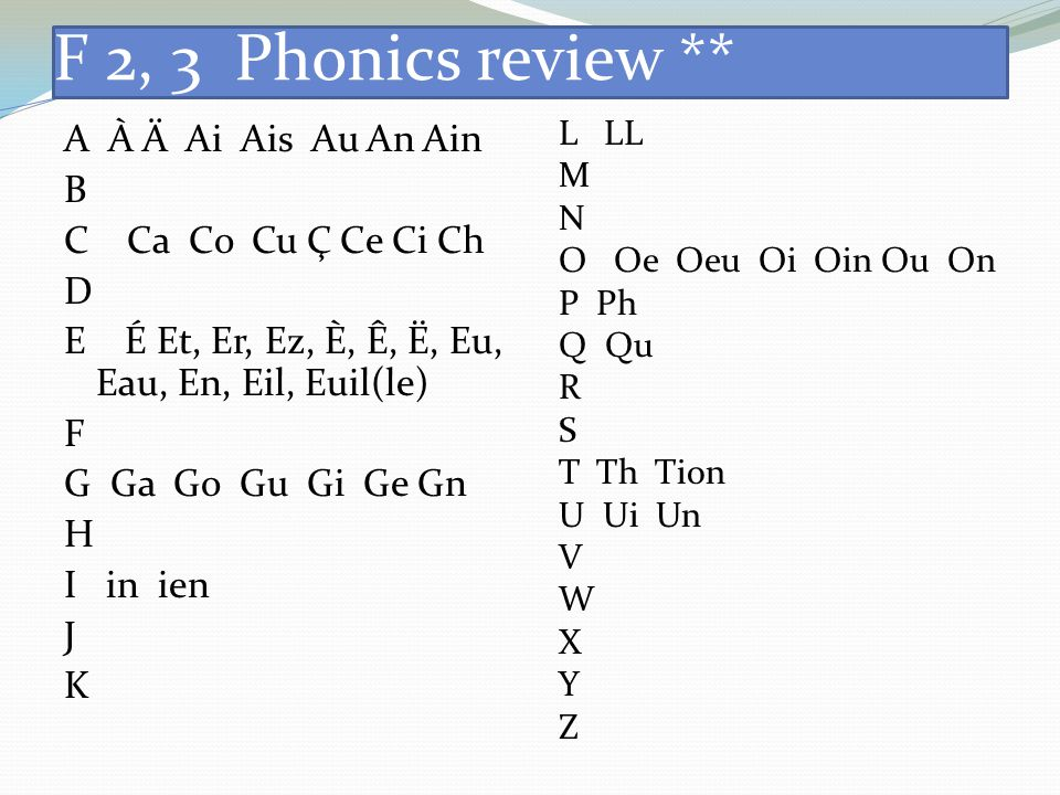 F 2, 3 Phonics review ** L LL. M. N. O Oe Oeu Oi Oin Ou On. P Ph. Q Qu. R. S. T Th Tion.
