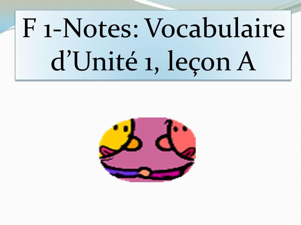 F 1-Notes: Vocabulaire d'Unité 1, leçon A