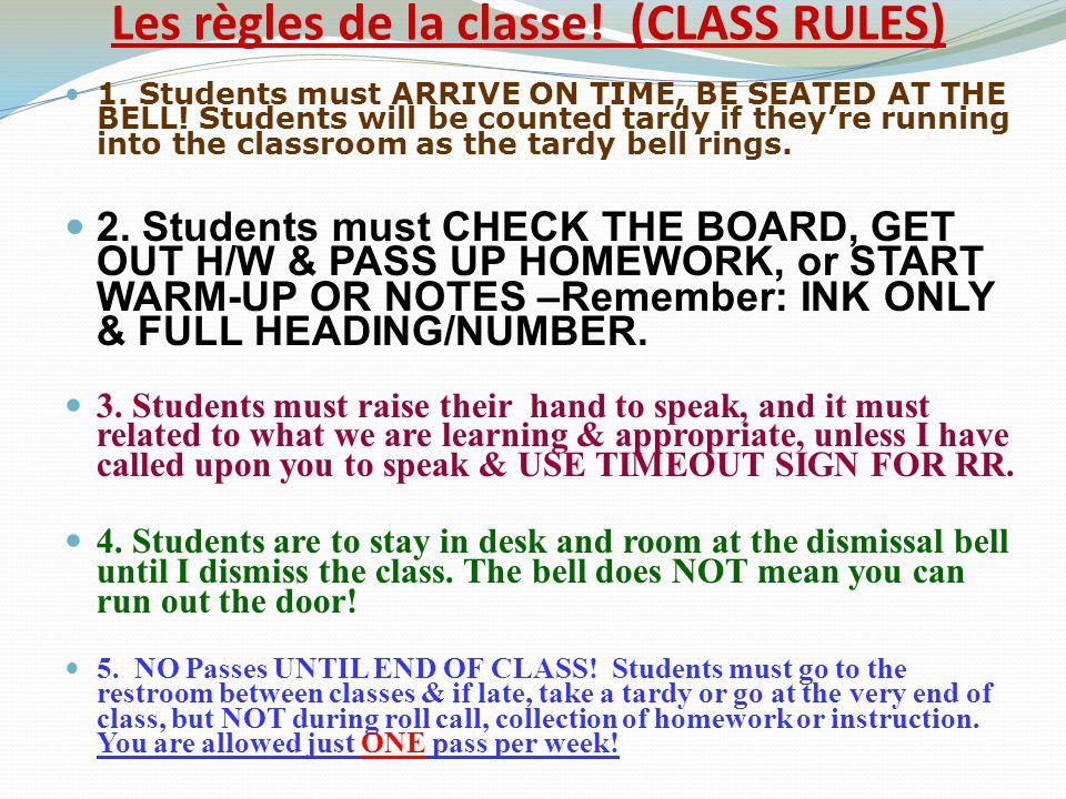 Les règles de la classe! (CLASS RULES)