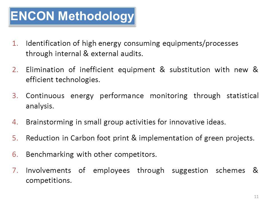 ENCON Methodology Identification of high energy consuming equipments/processes through internal & external audits.