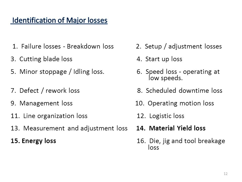 Identification of Major losses