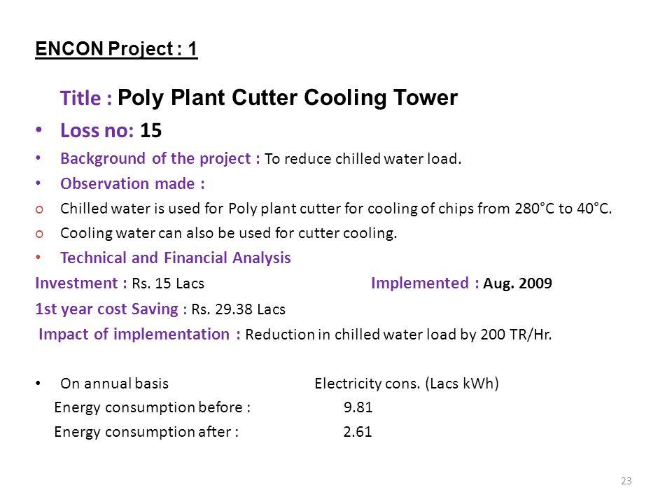 Loss no: 15 ENCON Project : 1