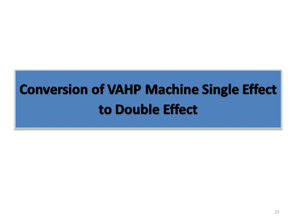 Conversion of VAHP Machine Single Effect to Double Effect
