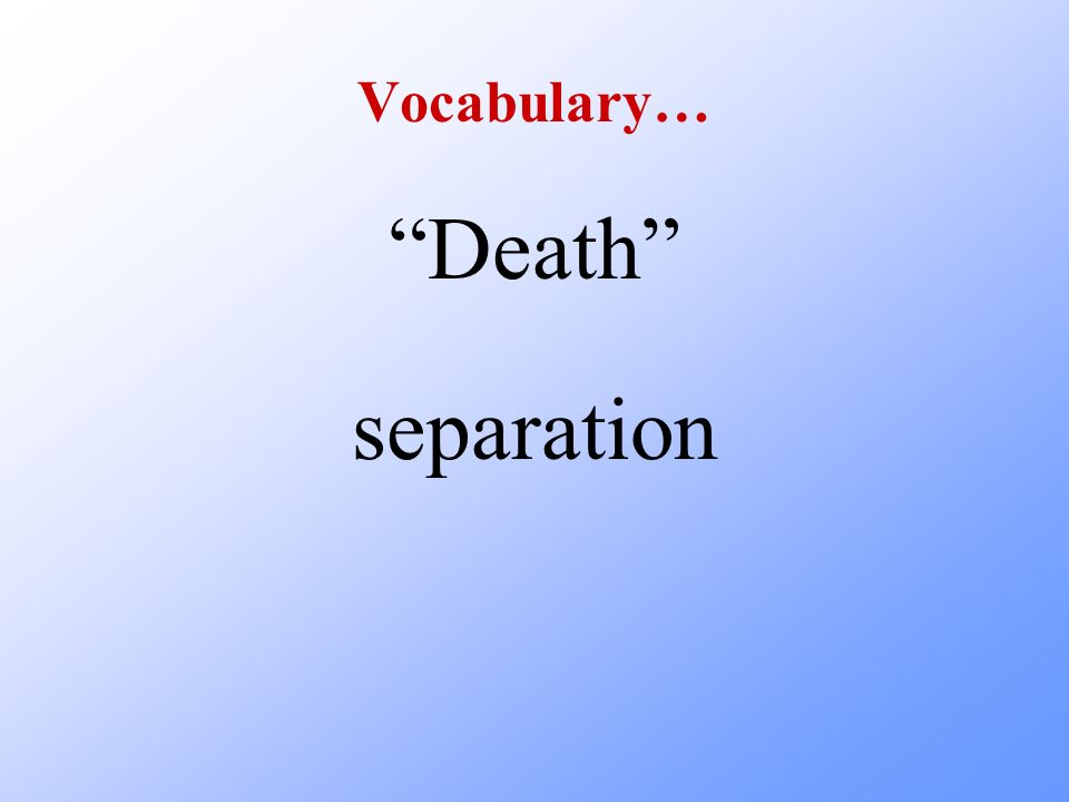 Vocabulary… Death separation