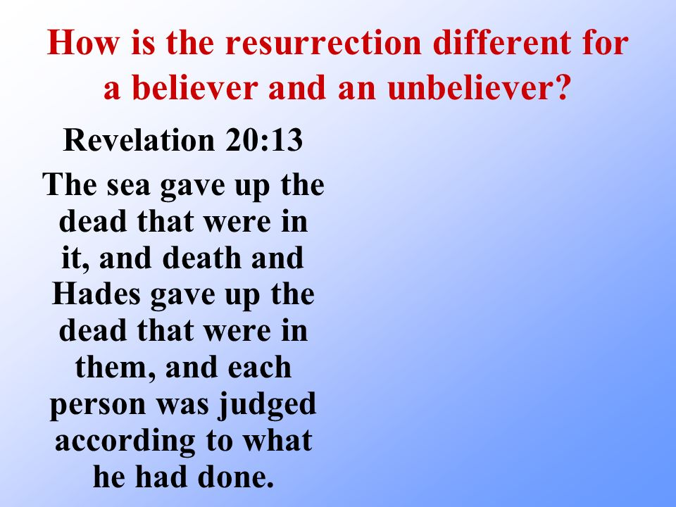 How is the resurrection different for a believer and an unbeliever