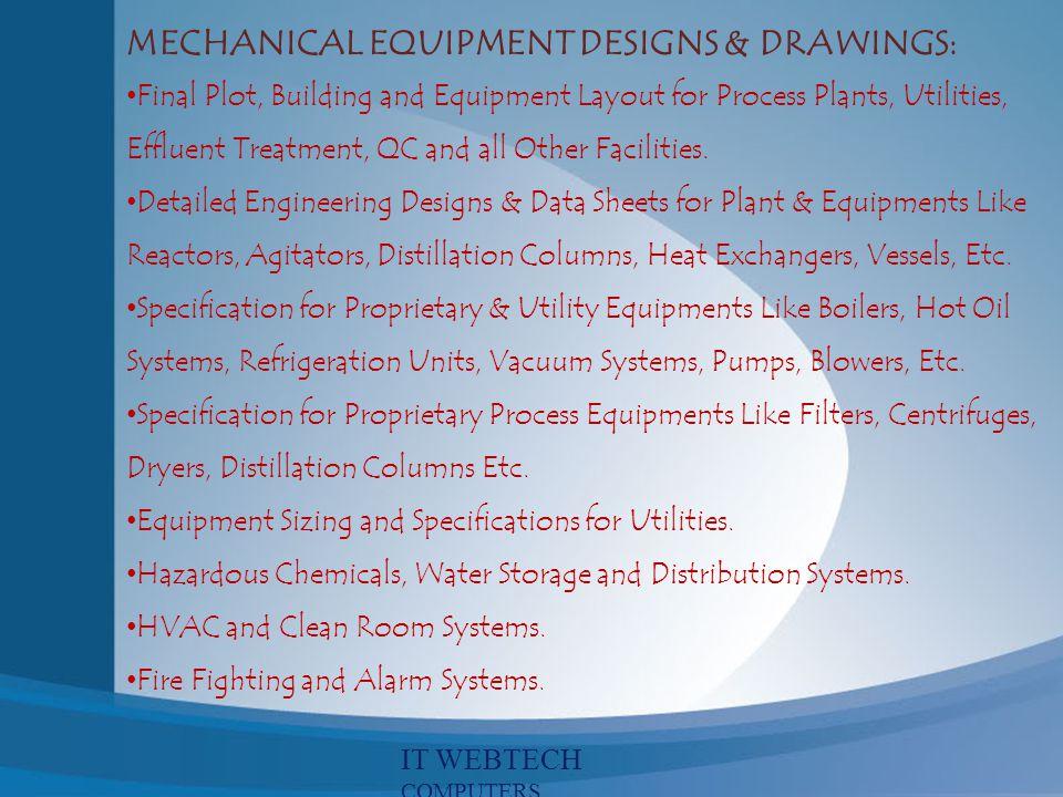 MECHANICAL EQUIPMENT DESIGNS & DRAWINGS: