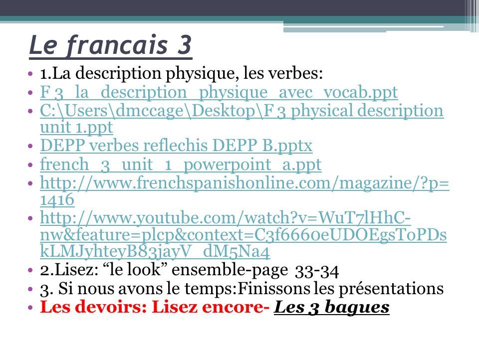 Le francais 3 1.La description physique, les verbes: