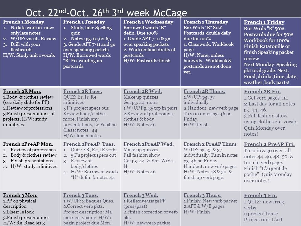Oct. 22nd-Oct. 26th 3rd week McCage