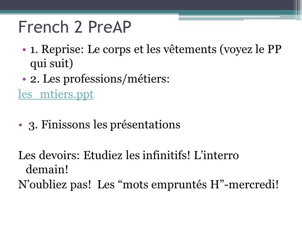French 2 PreAP 1. Reprise: Le corps et les vêtements (voyez le PP qui suit) 2. Les professions/métiers: